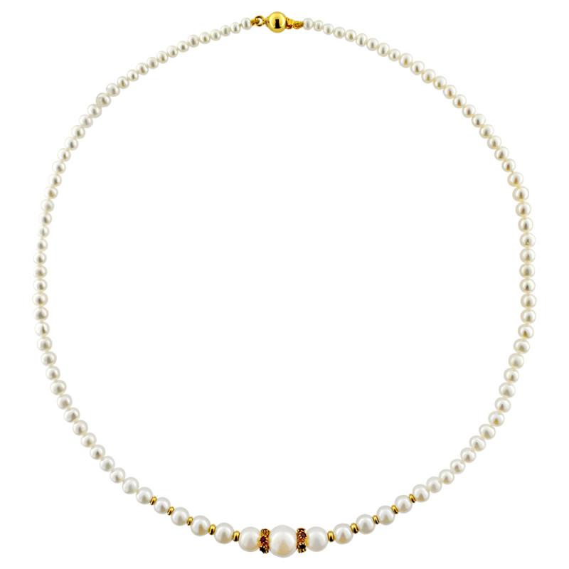 Κολιέ με λευκά μαργαριτάρια, ρουμπίνια και χρυσά στοιχεία Κ18 - M122477R