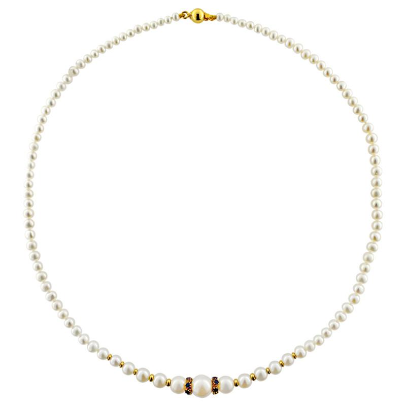 Κολιέ με λευκά μαργαριτάρια, ζαφείρια και χρυσά στοιχεία Κ18 - M122477S