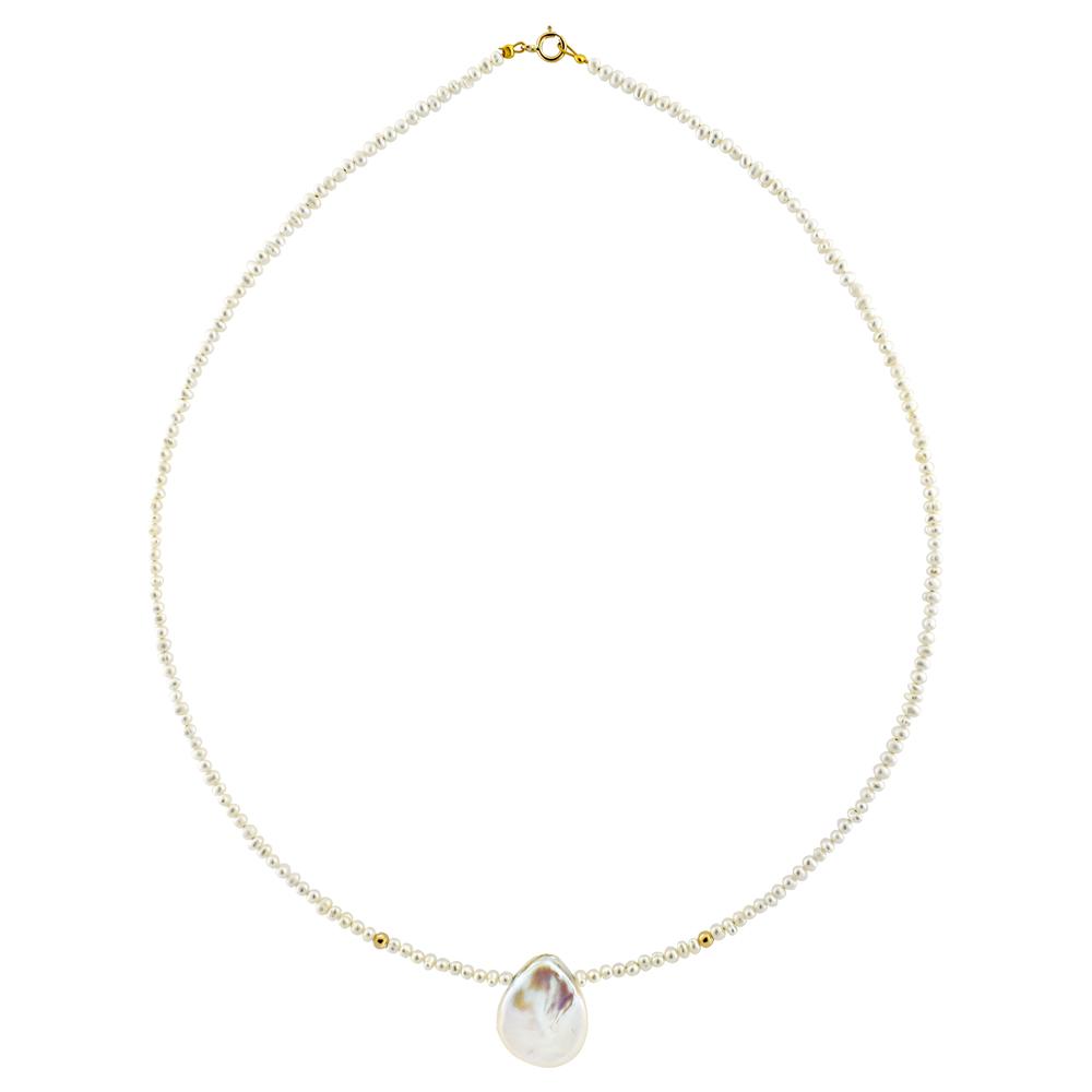 Κολιέ με λευκά μαργαριτάρια και χρυσά στοιχεία Κ14 - M122491 e5b0cc8a3c8