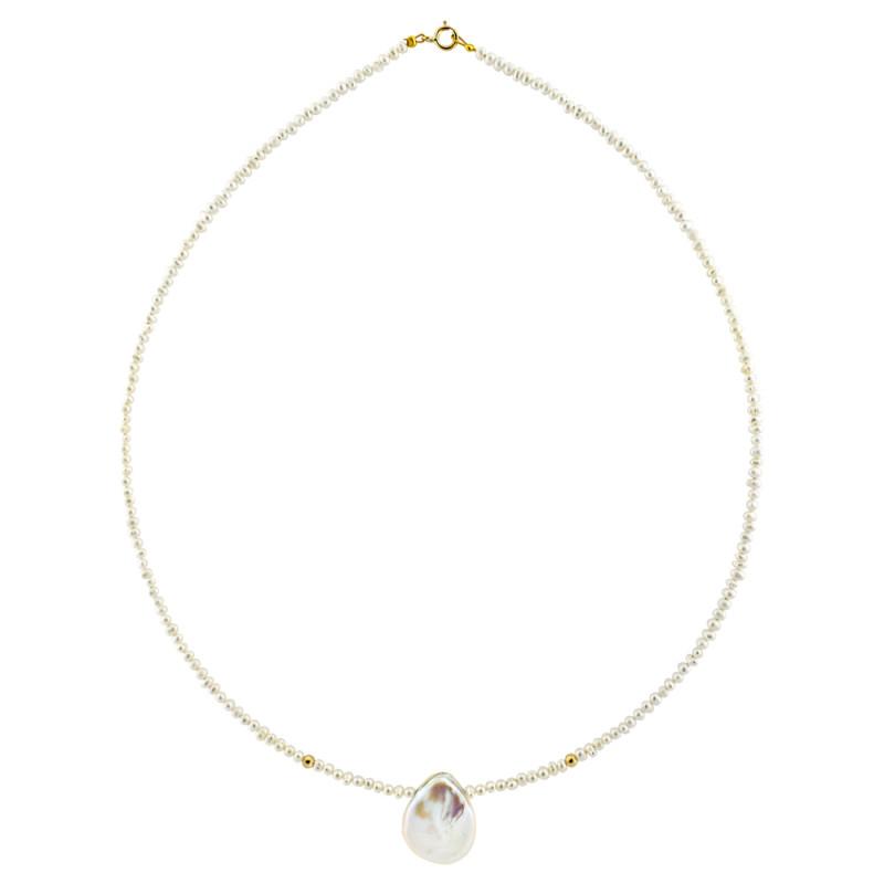 Κολιέ με λευκά μαργαριτάρια και χρυσά στοιχεία Κ14 - M122491