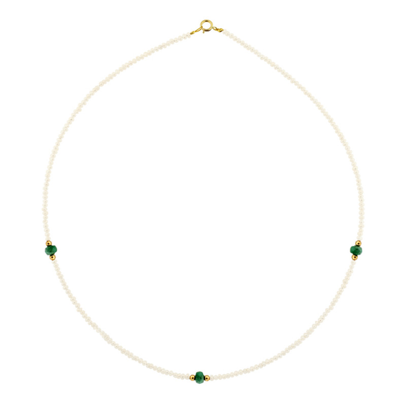 Κολιέ με μαργαριτάρια, σμαράγδια και χρυσά στοιχεία Κ14 - M122497E