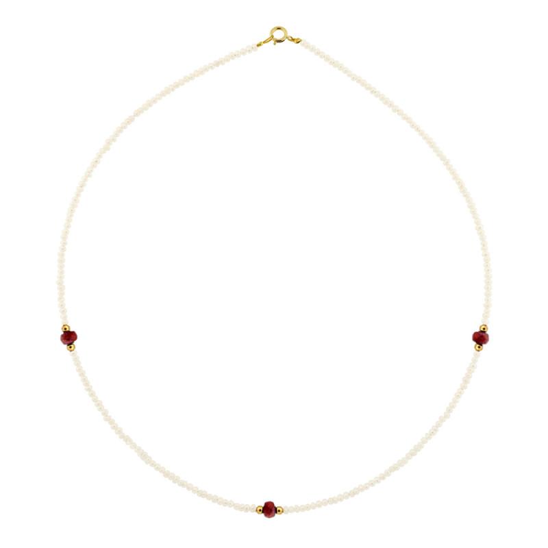 Κολιέ με μαργαριτάρια, ρουμπίνια και χρυσά στοιχεία Κ14 - M122497R