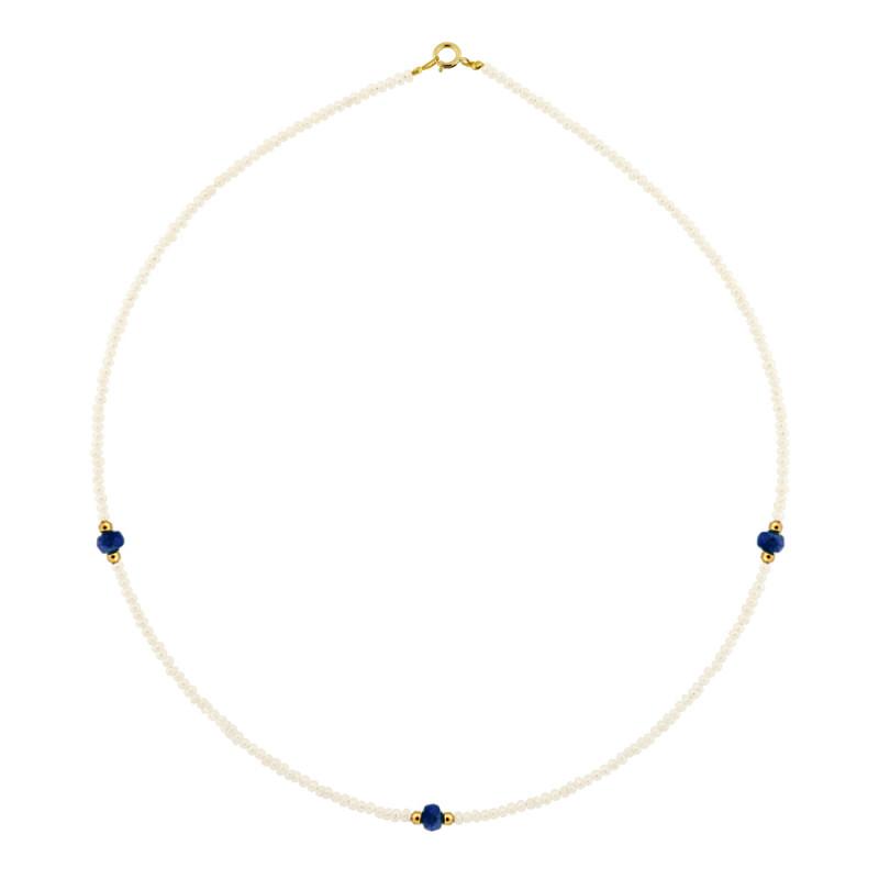 Κολιέ με μαργαριτάρια, ζαφείρια και χρυσά στοιχεία Κ14 - M122497S