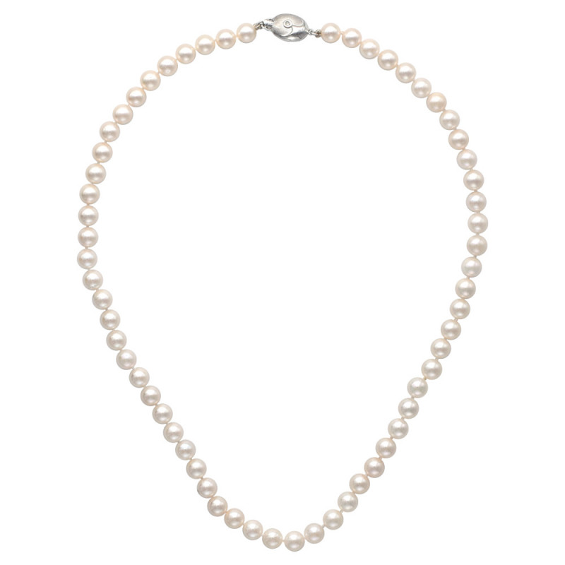 Κολιέ με μαργαριτάρια Akoya και λευκόχρυσο κούμπωμα K18 - M122592