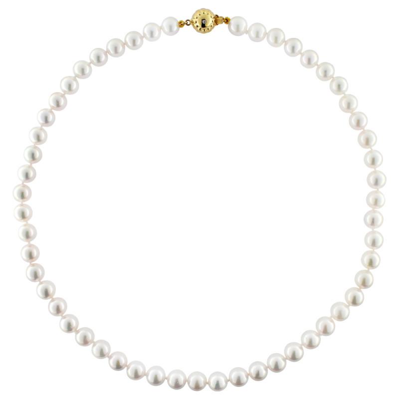 Κολιέ με λευκά μαργαριτάρια και χρυσό κούμπωμα K18 - M122593