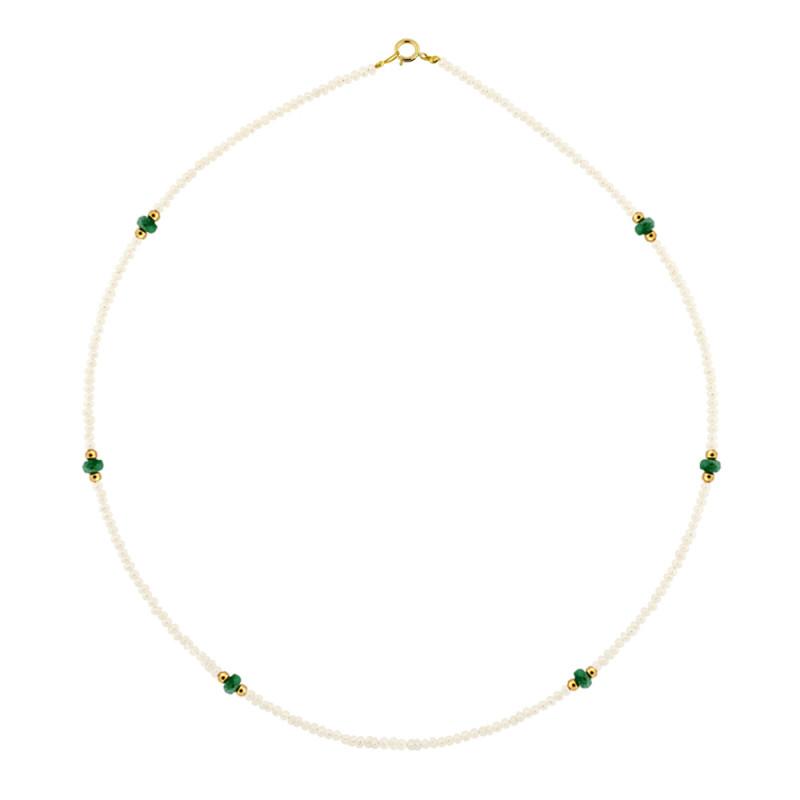 Κολιέ με μαργαριτάρια, σμαράγδια και χρυσά στοιχεία Κ14 - M122607E