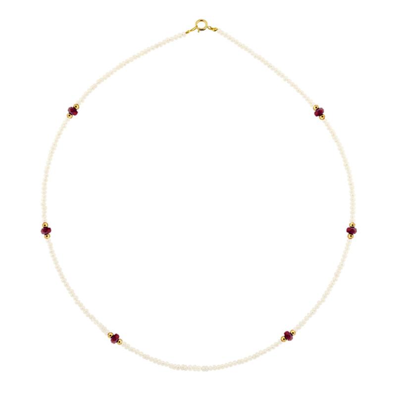 Κολιέ με μαργαριτάρια, ρουμπίνια και χρυσά στοιχεία Κ14 - M122607R