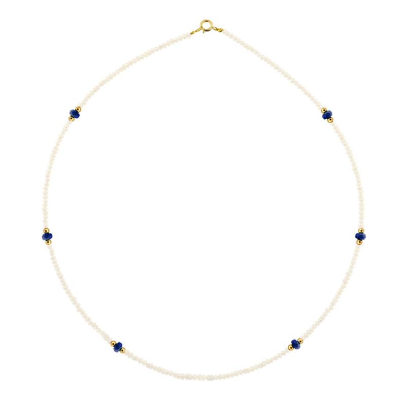 Κολιέ με μαργαριτάρια, ζαφείρια και χρυσά στοιχεία Κ14 - M122607S
