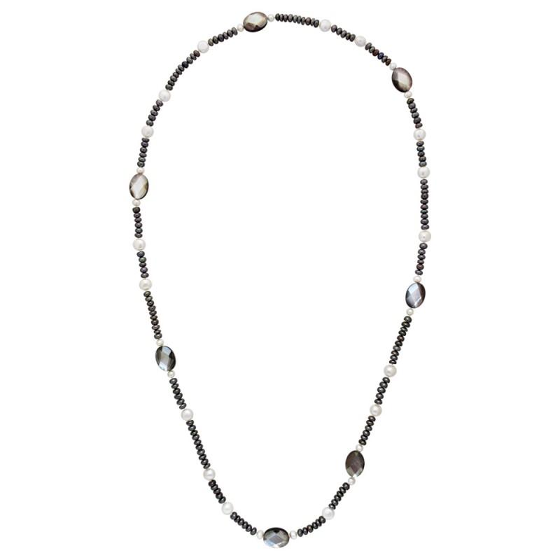 Κολιέ με μαύρα και λευκά μαργαριτάρια Fresh Water Pearl - M122695