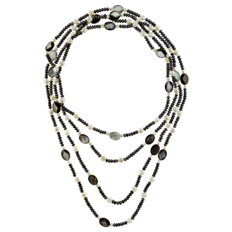 Κολιέ με μαύρα και λευκά μαργαριτάρια Fresh Water Pearl - M122696