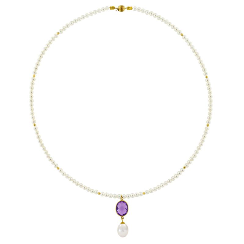 Κολιέ με λευκά μαργαριτάρια και χρυσό μενταγιόν K14 - M122702A