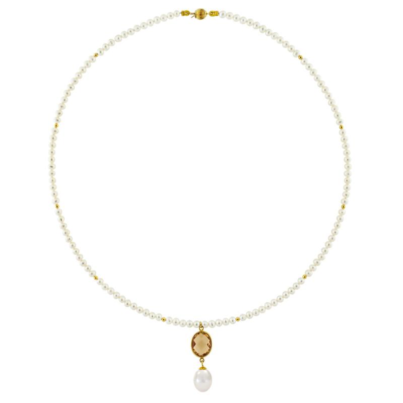 Κολιέ με λευκά μαργαριτάρια και χρυσό μενταγιόν K14 - M122702C