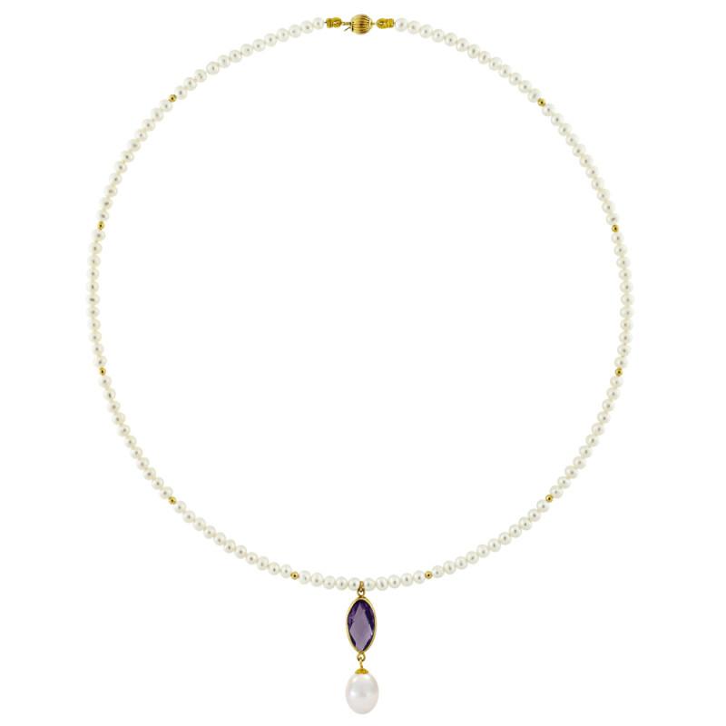 Κολιέ με λευκά μαργαριτάρια και χρυσό μενταγιόν K14 - M122703AM