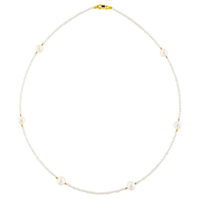 Κολιέ με λευκά μαργαριτάρια και χρυσά στοιχεία Κ14 - M122714