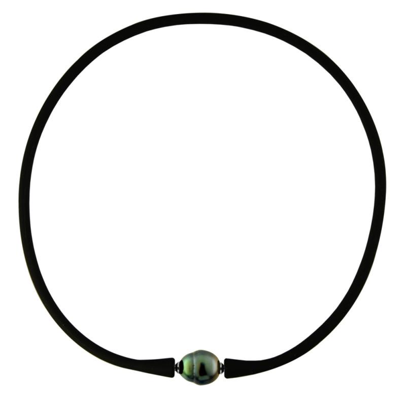 Κολιέ με μαύρο μαργαριτάρι - M122715SGLB