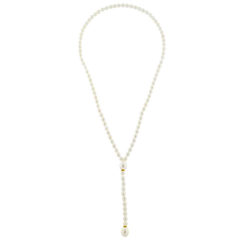 Κολιέ με λευκά μαργαριτάρια και χρυσά στοιχεία Κ14 - M122720