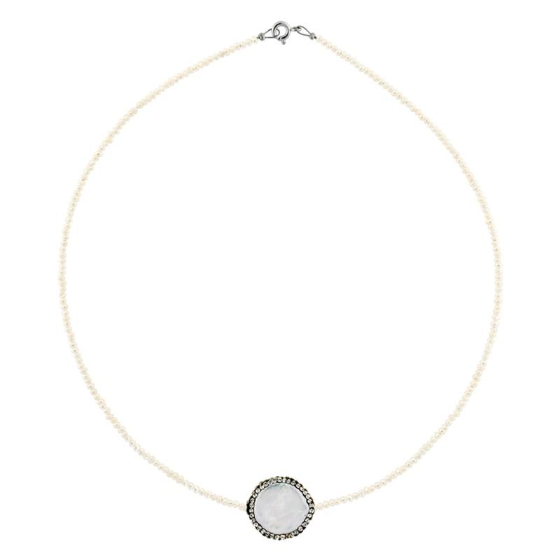Κολιέ με λευκά μαργαριτάρια και ασημένιο κούμπωμα 925 - M122721