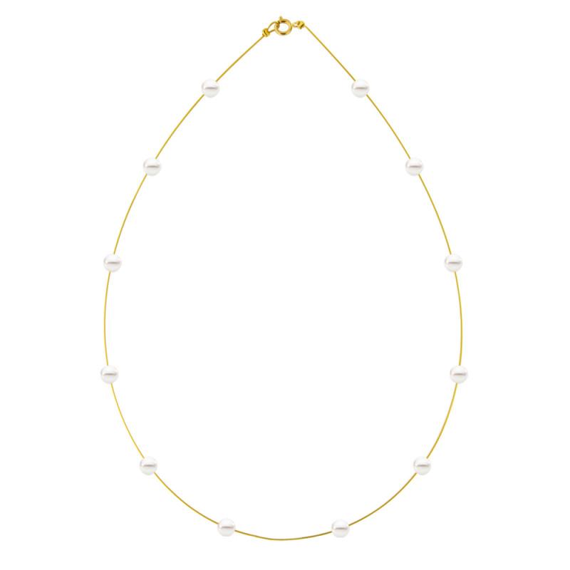 Κολιέ με λευκά μαργαριτάρια και χρυσό κούμπωμα K14 - M122723