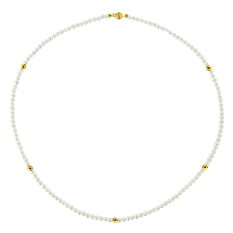 Κολιέ με λευκά μαργαριτάρια και χρυσά στοιχεία Κ14 - M122726