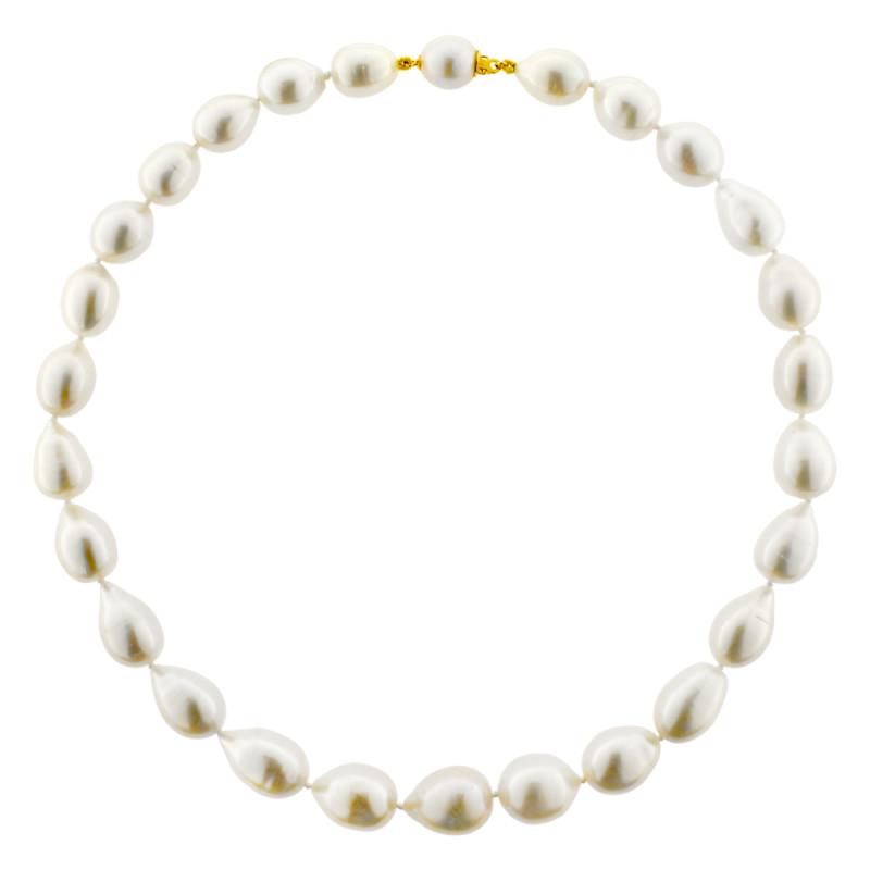 Κολιέ με λευκά μαργαριτάρια και χρυσά στοιχεία K18 - M122727
