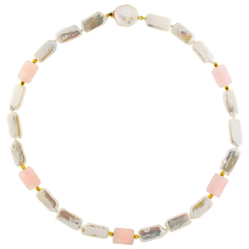Κολιέ με λευκά μαργαριτάρια, pink quartz και χρυσά στοιχεία Κ18 - M122728