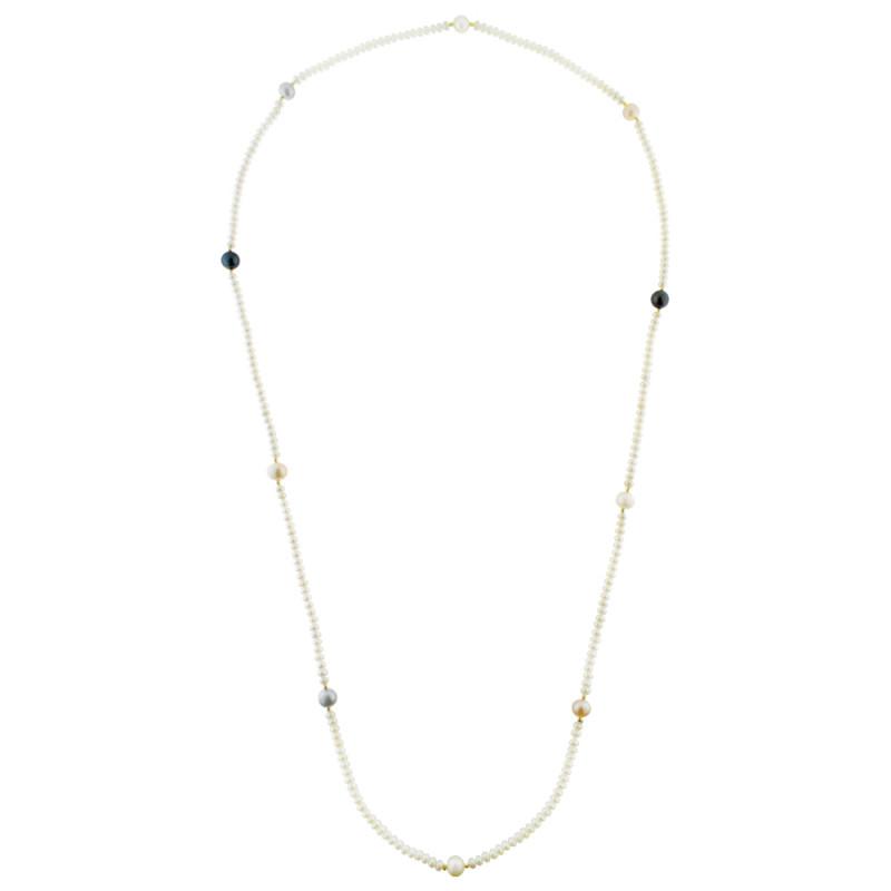 Κολιέ με μαργαριτάρια και χρυσά στοιχεία Κ14 - M122735