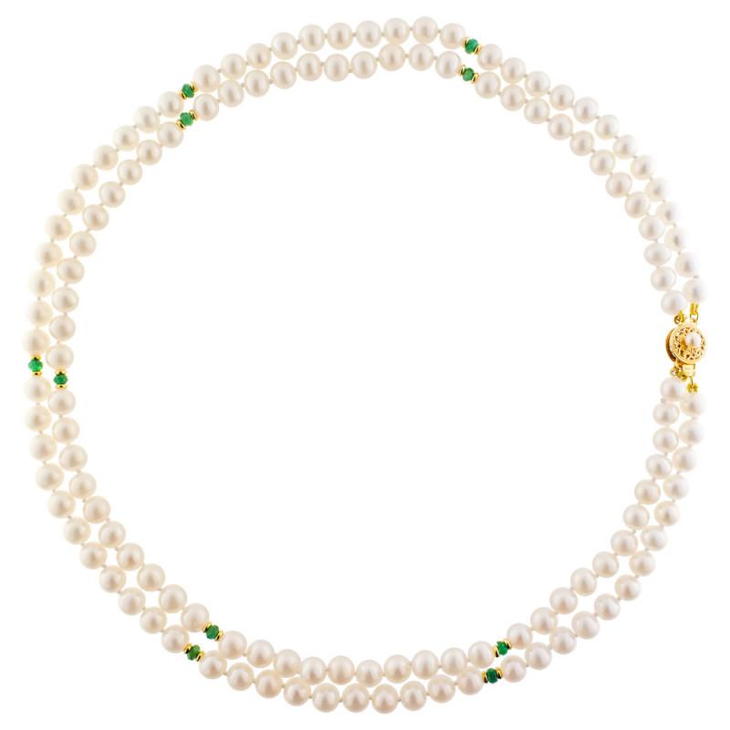Κολιέ με λευκά μαργαριτάρια, σμαράγδια και χρυσό κούμπωμα Κ14 - M122748