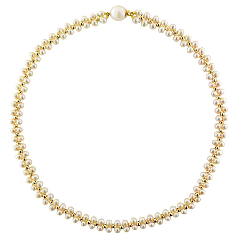 Κολιέ με λευκά μαργαριτάρια και χρυσά στοιχεία K14 - M122797