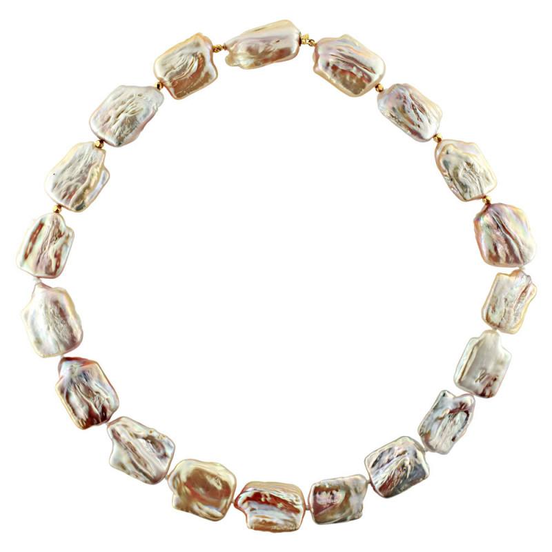 Κολιέ με λευκά μαργαριτάρια και χρυσά στοιχεία Κ18 - M122843