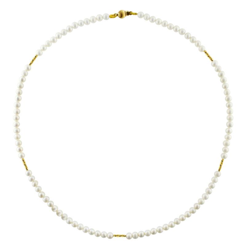 Κολιέ με λευκά μαργαριτάρια και χρυσά στοιχεία Κ18 - M122848
