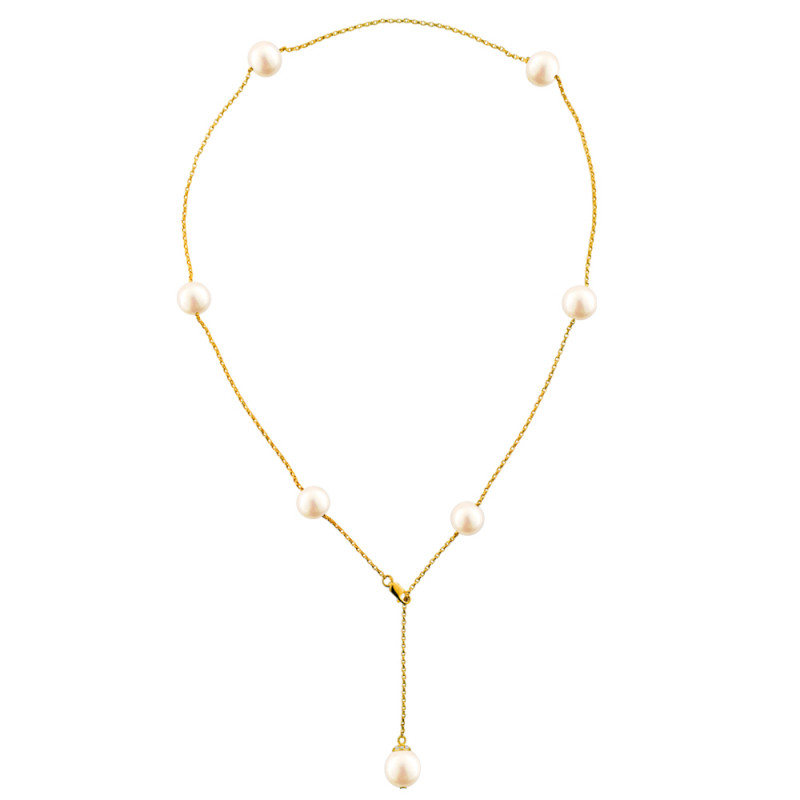 Κολιέ με μαργαριτάρια σε χρυσή αλυσίδα Κ18 - M122849