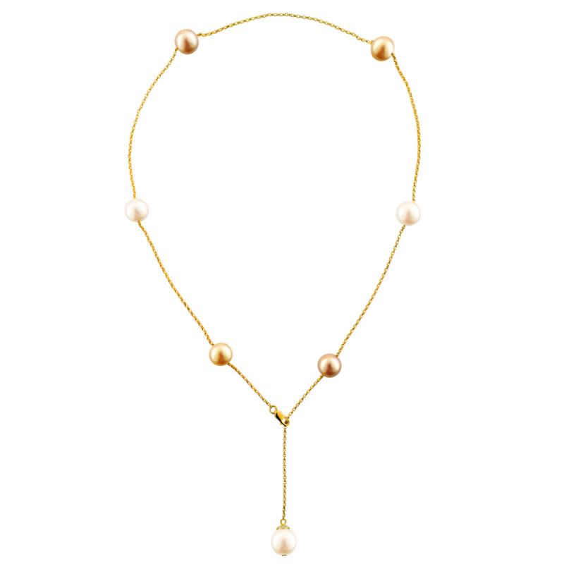 Κολιέ με μαργαριτάρια σε χρυσή αλυσίδα Κ18 - M122849M