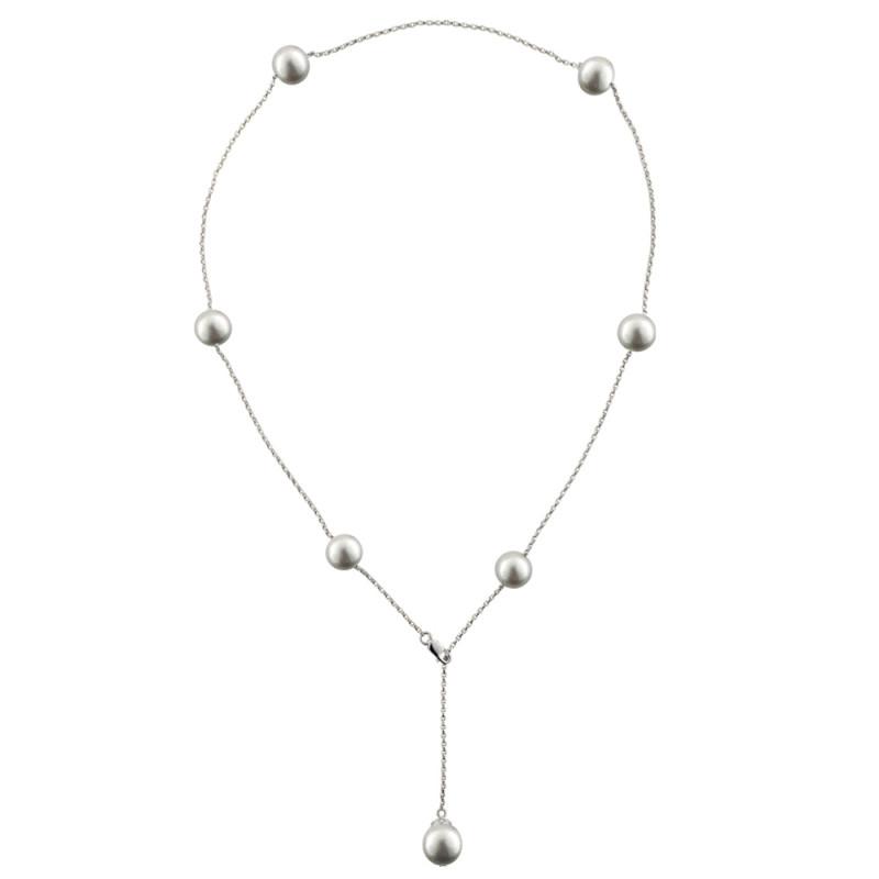 Κολιέ με μαργαριτάρια σε λευκόχρυση αλυσίδα Κ18 - M122850