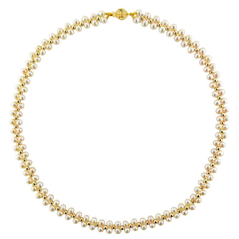 Κολιέ με λευκά μαργαριτάρια και χρυσά στοιχεία K14 - M122930