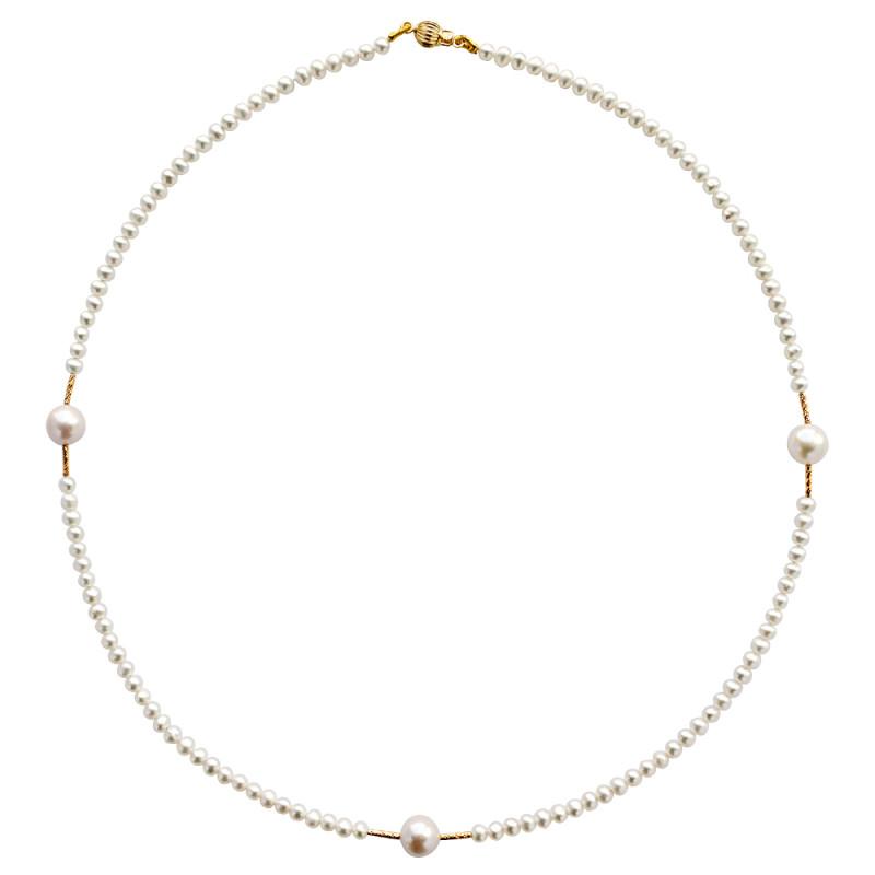 Κολιέ με λευκά μαργαριτάρια και χρυσά στοιχεία Κ18 - M122935