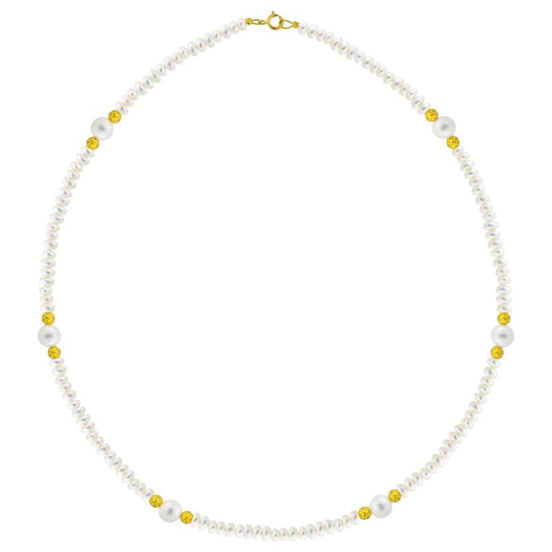 Κολιέ με μαργαριτάρια 4,0-7,0mm αιματίτη και χρυσό κούμπωμα Κ14 - M123021