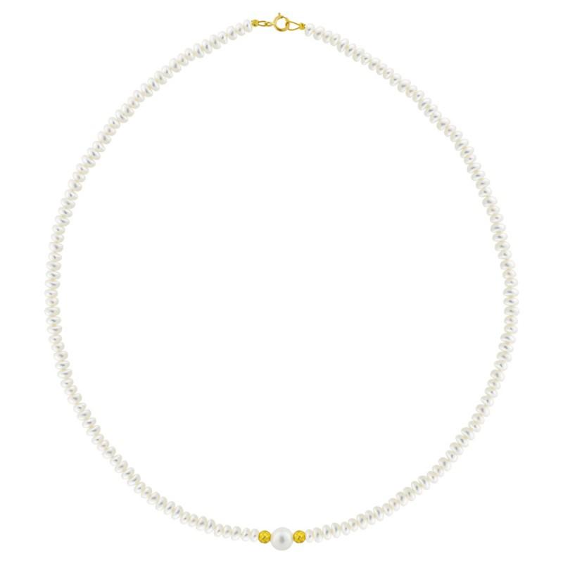 Κολιέ με μαργαριτάρια 4,0-7,0mm αιματίτη και χρυσό κούμπωμα Κ14 - M123030