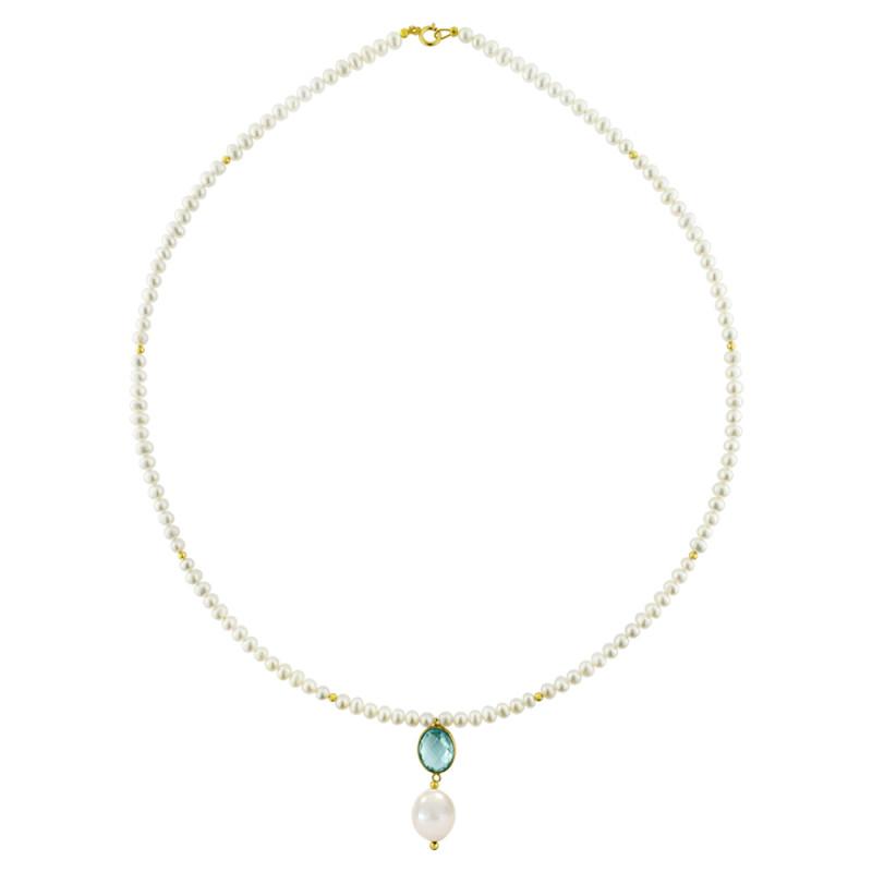 Κολιέ με λευκά μαργαριτάρια και χρυσό μενταγιόν K14 - M123083