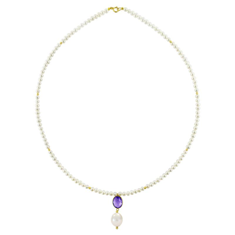 Κολιέ με λευκά μαργαριτάρια και χρυσό μενταγιόν K14 - M123083A