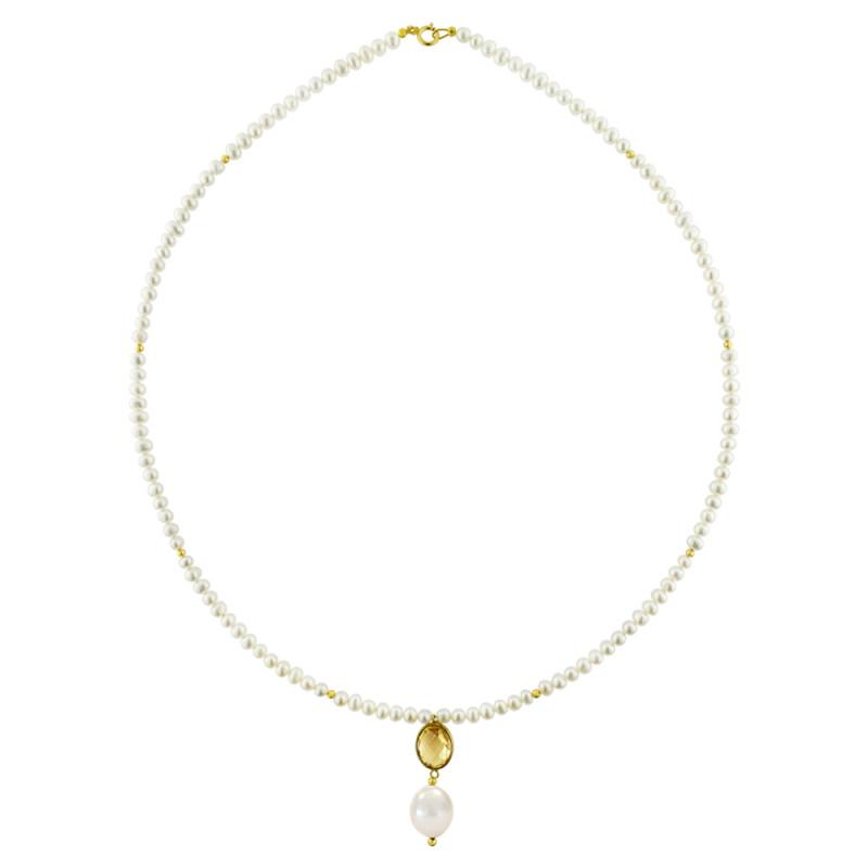 Κολιέ με λευκά μαργαριτάρια και χρυσό μενταγιόν K14 - M123083C