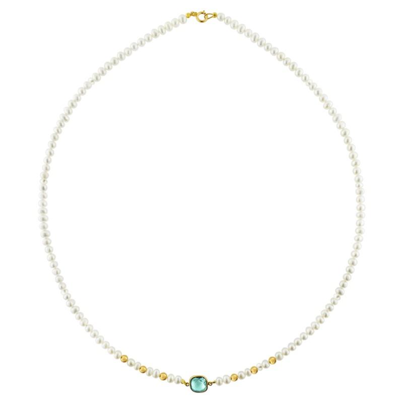 Κολιέ με λευκά μαργαριτάρια και χρυσό μενταγιόν K14 - M123084