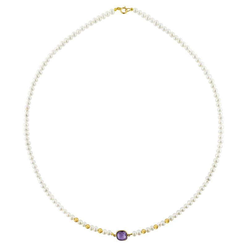 Κολιέ με λευκά μαργαριτάρια και χρυσό μενταγιόν K14 - M123084A