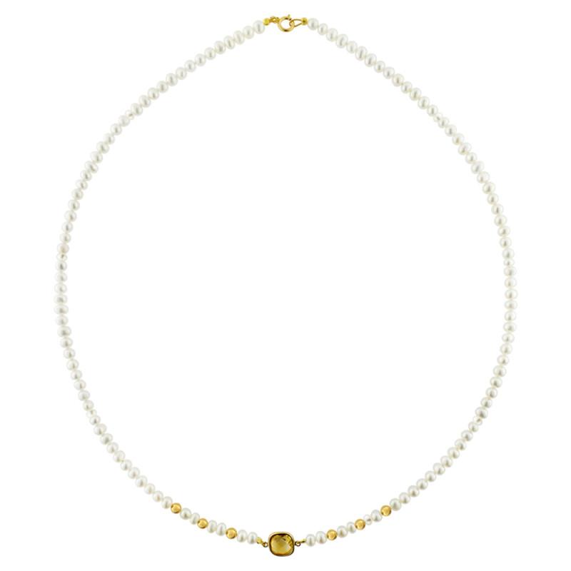 Κολιέ με λευκά μαργαριτάρια και χρυσό μενταγιόν K14 - M123084C