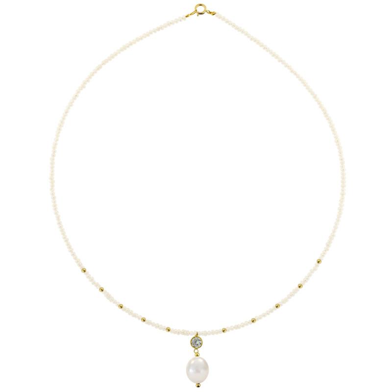 Κολιέ με λευκά μαργαριτάρια και χρυσό μενταγιόν K14 - M123085