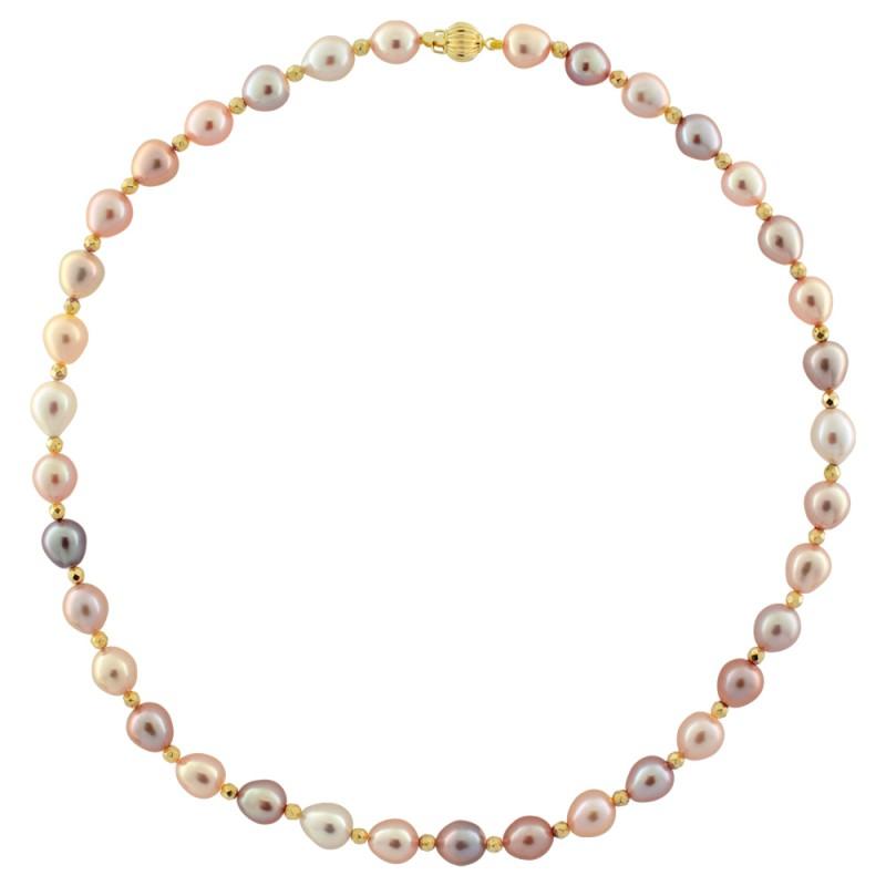 Κολιέ με μαργαριτάρια, αιματίτη και χρυσό κούμπωμα Κ14 - M123096