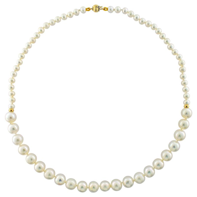 Κολιέ με λευκά μαργαριτάρια και χρυσά στοιχεία Κ14 - M123098