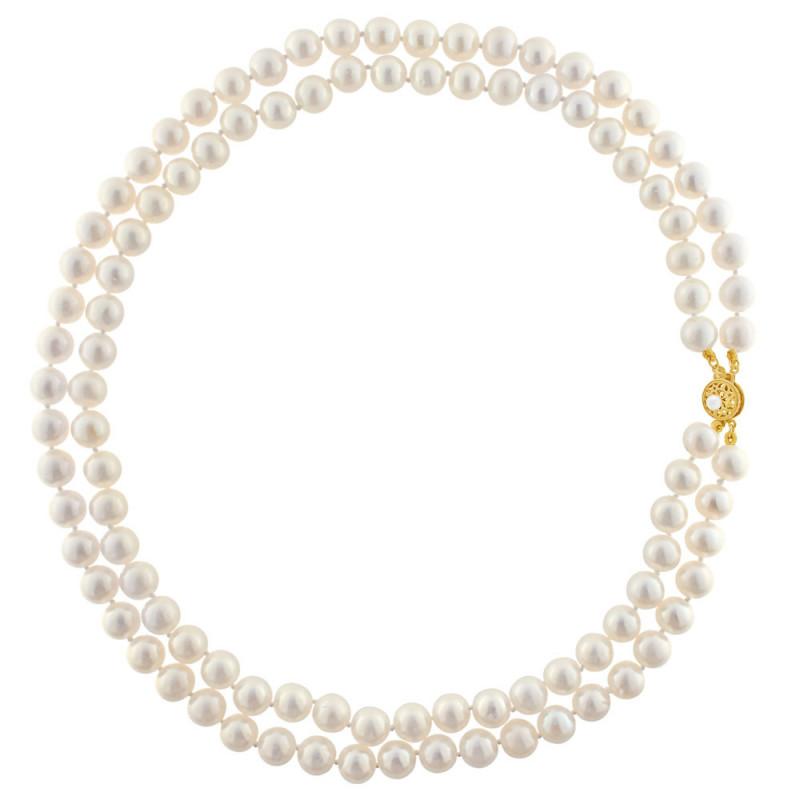 Κολιέ με μαργαριτάρια και χρυσό κούμπωμα Κ14 - M123485