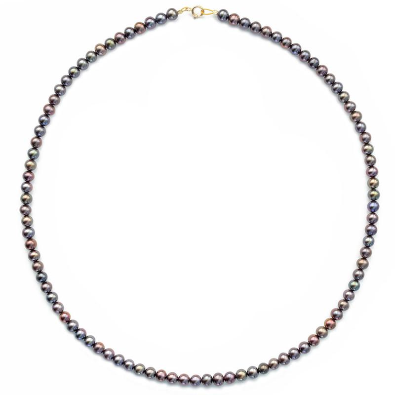 Κολιέ με μαύρα μαργαριτάρια και χρυσό κούμπωμα K14 - M123530