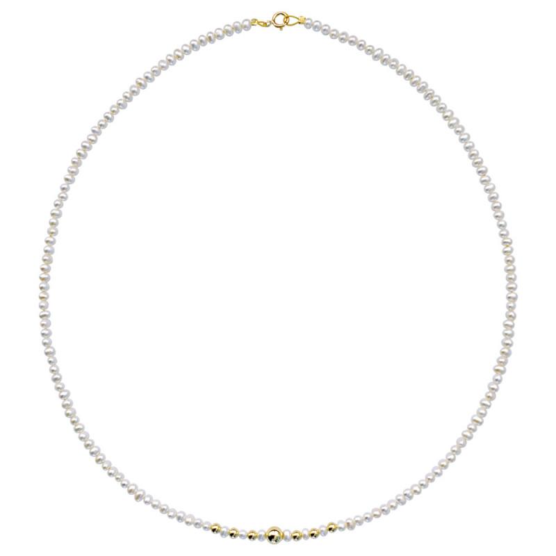 Κολιέ με μαργαριτάρια και χρυσά στοιχεία K14 - M123531