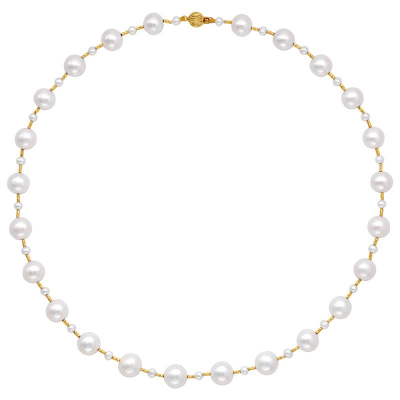 Κολιέ με μαργαριτάρια Fresh Water και χρυσά στοιχεία Κ18 - M123561